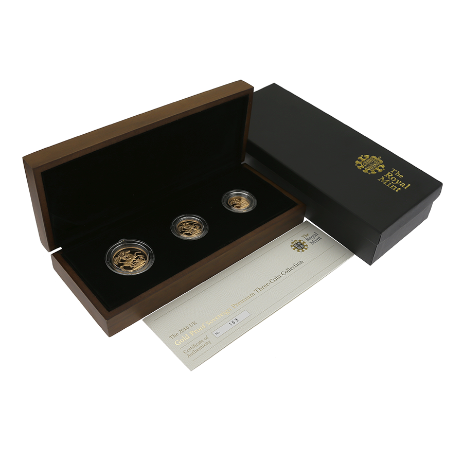 Pre-Owned 2010 UK Premium Double, Full & Half Sovereign 3-Coin Collection