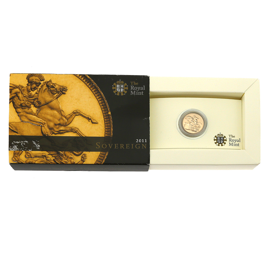 Pre-Owned 2011 UK Full Sovereign Gold Coin - Boxed - Damaged