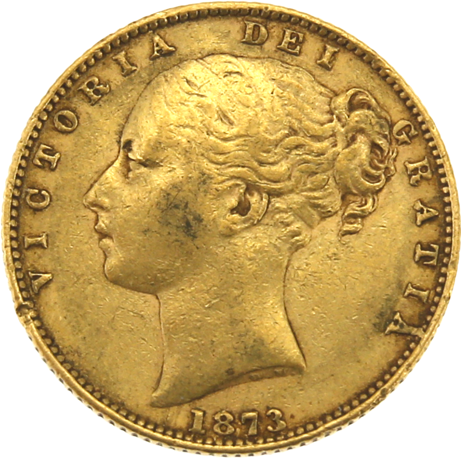 Pre-Owned 1873 London Mint DN.12 Victorian 'Shield' Full Sovereign Gold Coin