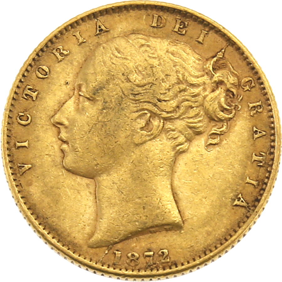 """Pre-Owned 1872 London Mint DN.3 Victoria Young Head """"Shield"""" Full Sovereign Gold Coin"""