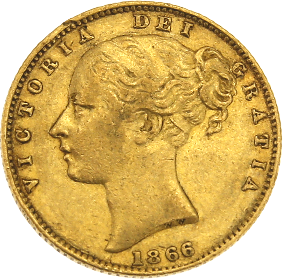Pre-Owned 1866 London Mint Victorian 'Shield' D.N 70 Full Sovereign Gold Coin