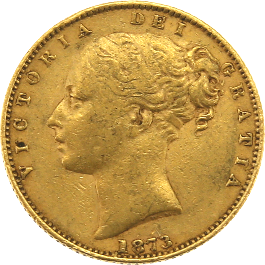 Pre-Owned 1873 London Mint DN.11 Victorian 'Shield' Full Sovereign Gold Coin