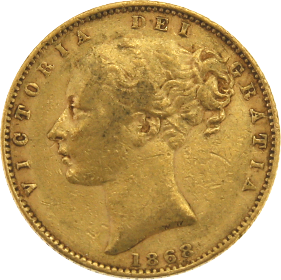 Pre-Owned 1868 London Mint DN.6 Victoria Young Head 'Shield' Full Sovereign Gold Coin