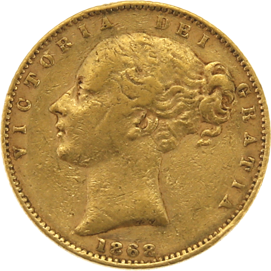 Pre-Owned 1868 London Mint DN.36 Victorian 'Shield' Full Sovereign Gold Coin