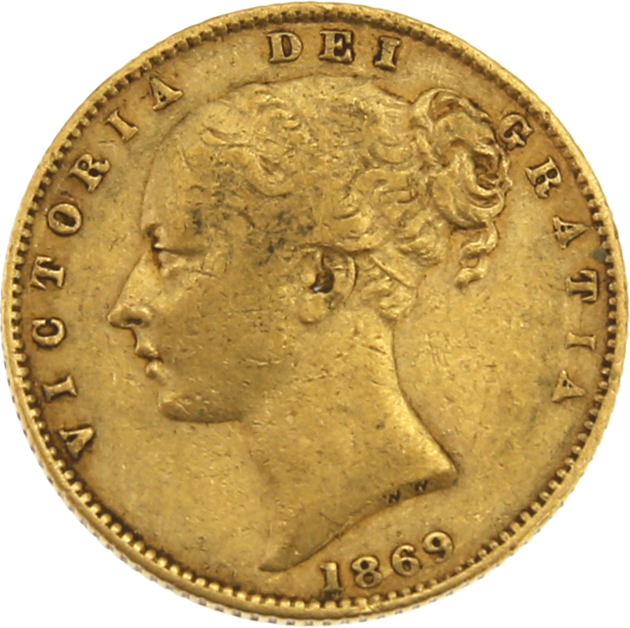 """Pre-Owned 1869 London Mint DN.4 Victoria Young Head """"Shield"""" Full Sovereign Gold Coin"""