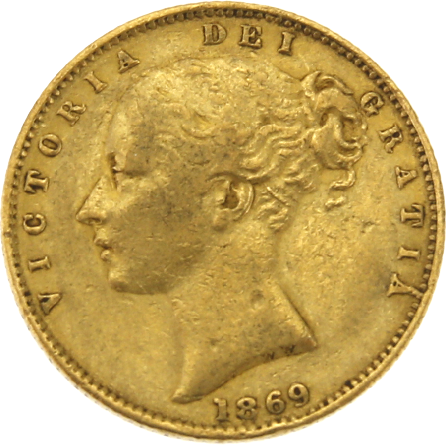 """Pre-Owned 1869 London Mint DN.39 Victoria Young Head """"Shield"""" Full Sovereign Gold Coin"""