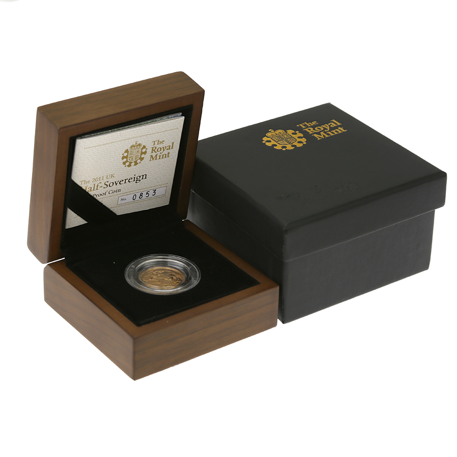 Pre-Owned 2011 UK Half Sovereign Gold Proof Coin - Damaged Outer Box
