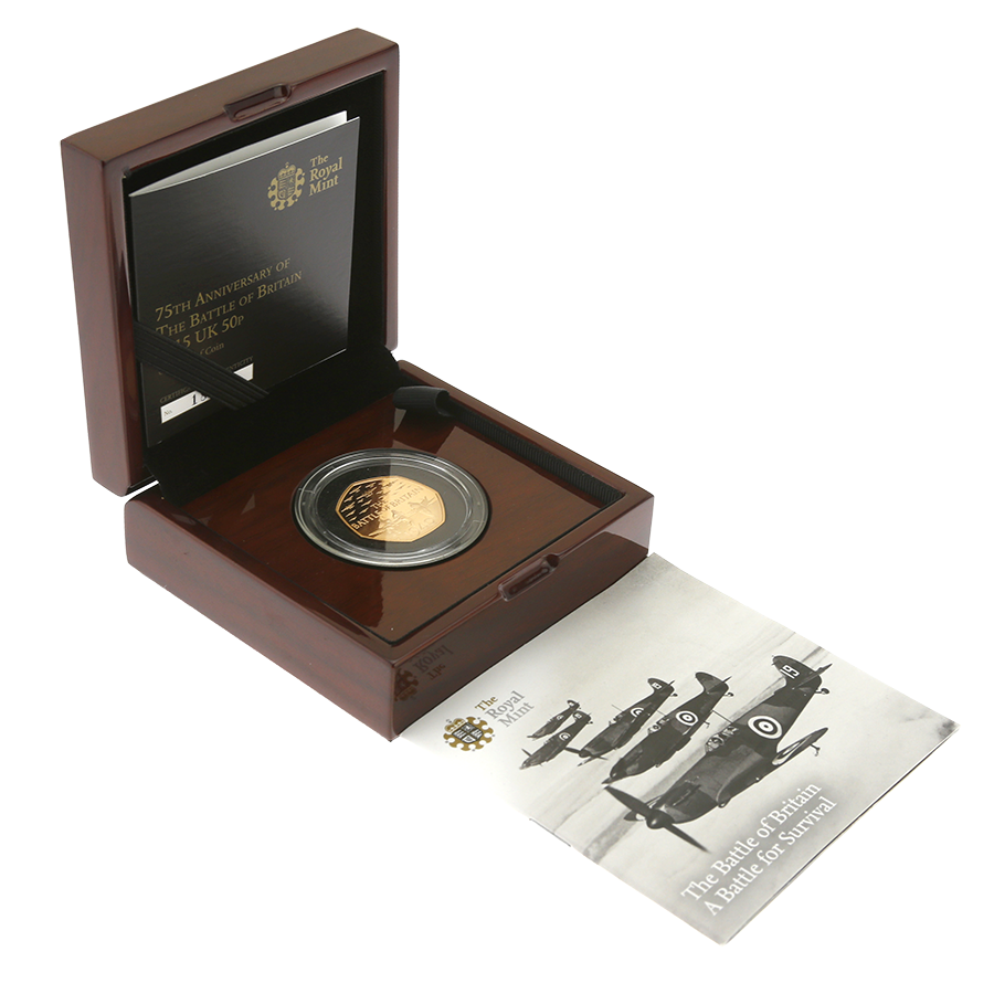 Pre-Owned 2015 UK 75th Anniversary of the Battle of Britain 50p Gold Proof Coin - Missing Outer Box