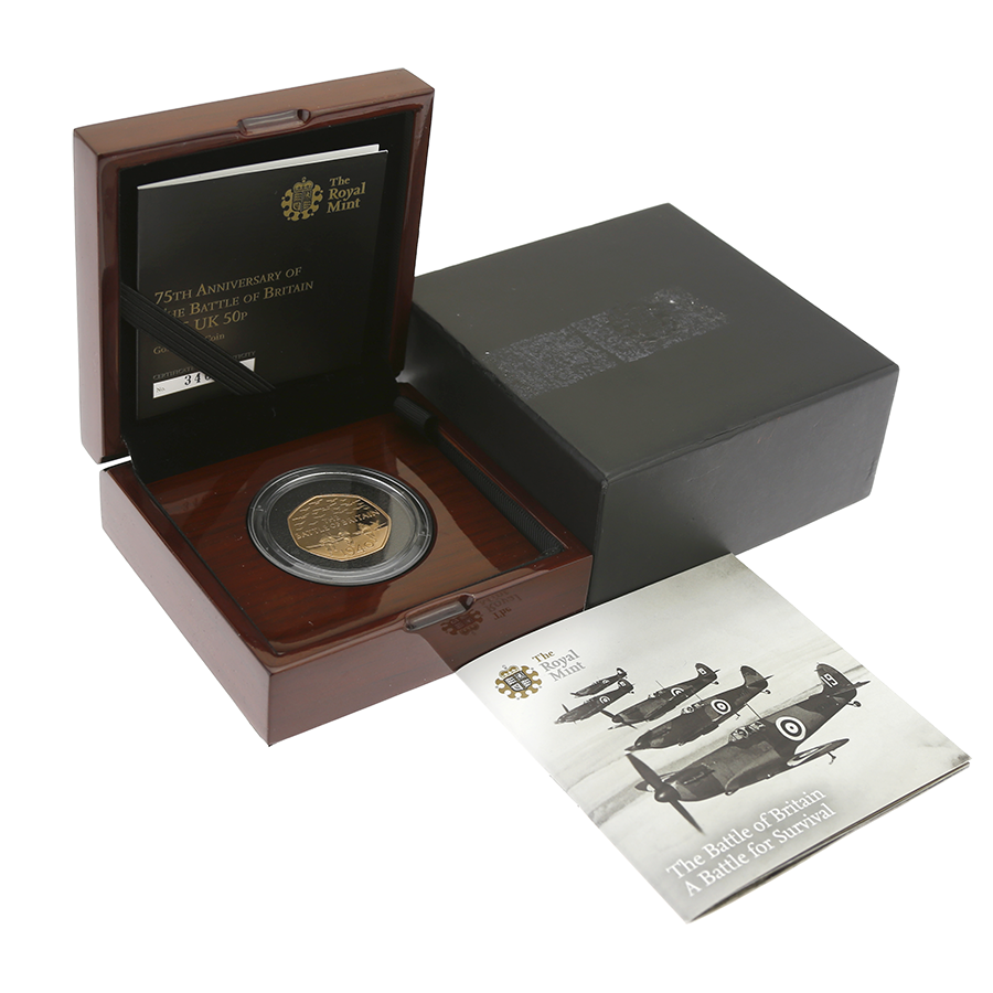 Pre-Owned 2015 UK 75th Anniversary of the Battle of Britain 50p Gold Proof Coin - Damaged Outer Box