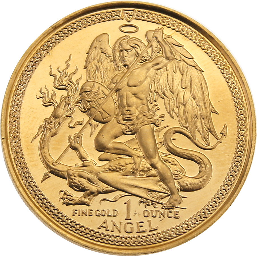 Pre-Owned 1985 Isle of Man Angel 1oz Gold Coin