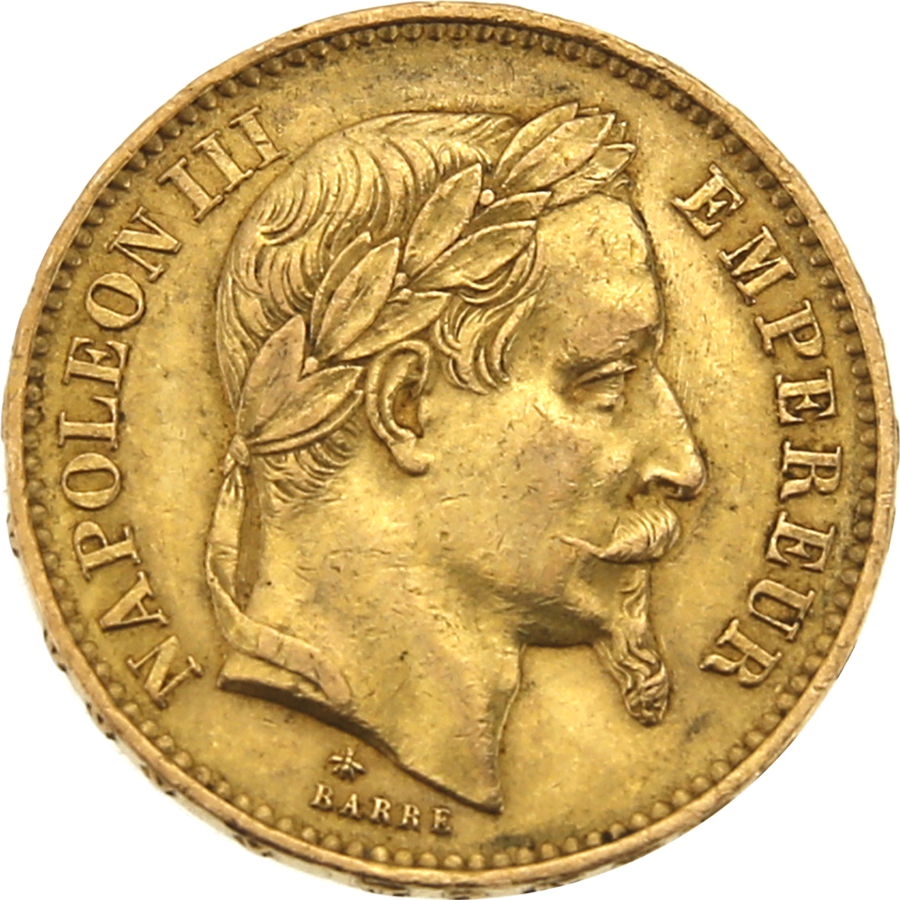 Pre-Owned 1867 French Napoleon III 20 Franc Gold Coin