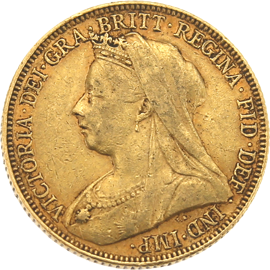 Pre-Owned 1901 - Melbourne Mint Victoria 'Veiled Head' Full Sovereign Gold Coin