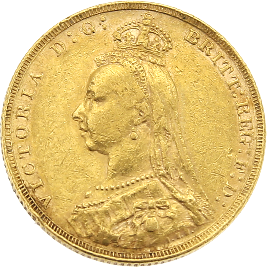 Pre-Owned 1890 - London Mint Victorian Jubilee Head Full Sovereign Gold Coin