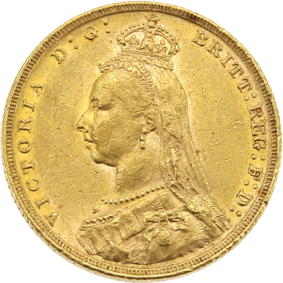 Pre-Owned 1891 - Melbourne Mint 'Jubilee Head' Full Sovereign Gold Coin