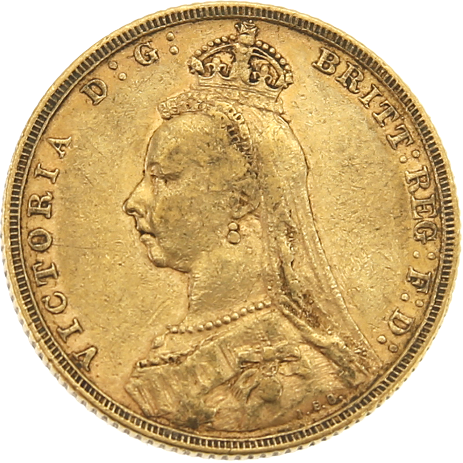 Pre-Owned 1892 - Melbourne Mint Victoria Jubilee Head Full Sovereign Gold Coin