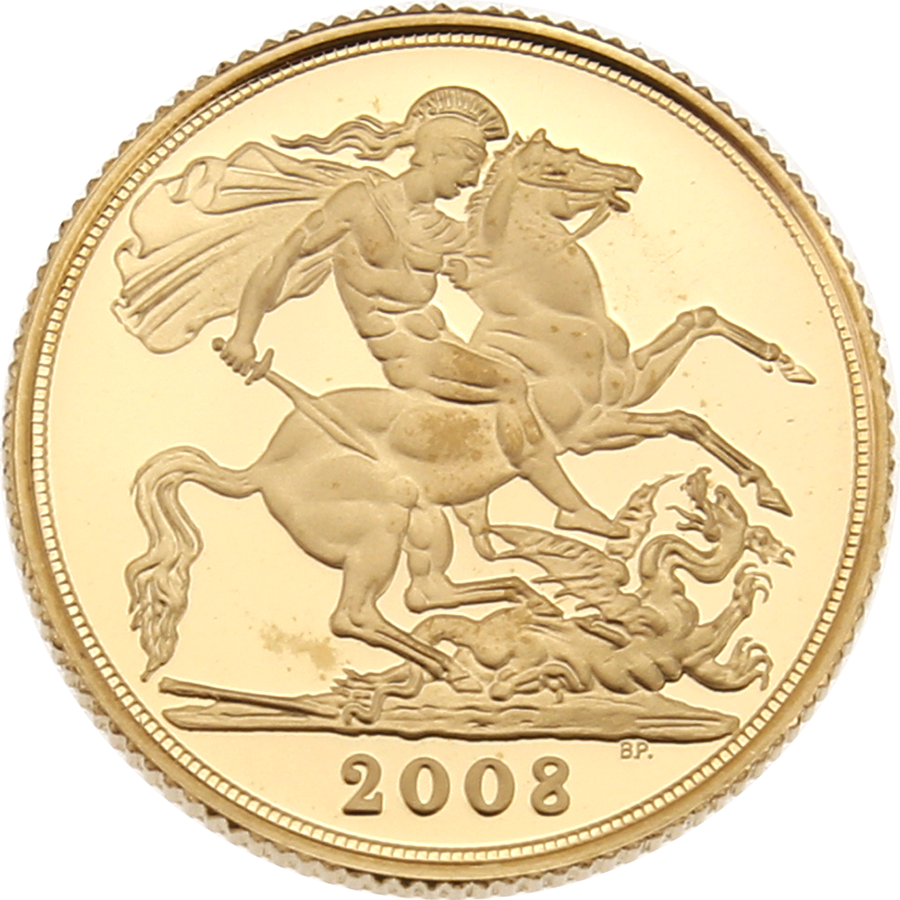 Pre-Owned 2008 UK Full Sovereign Gold Proof Coin (Image 2)