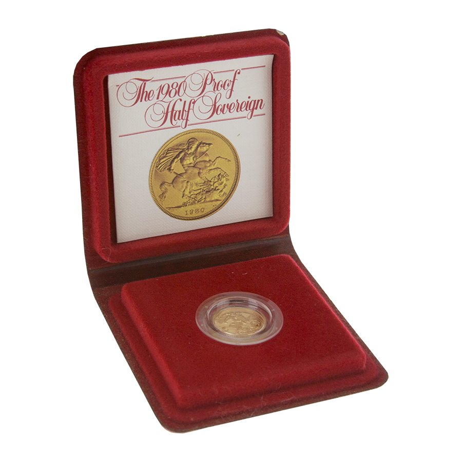 Pre-Owned 1980 UK Half Sovereign Proof Gold Coin