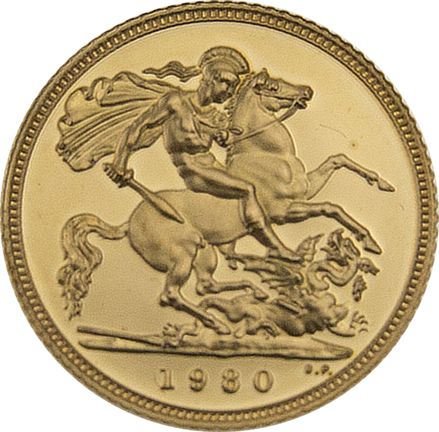Pre-Owned 1980 UK Half Sovereign Proof Gold Coin (Image 2)