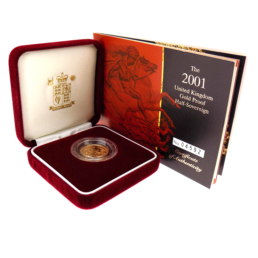 Pre-Owned 2001 UK Proof Half Sovereign Gold Coin