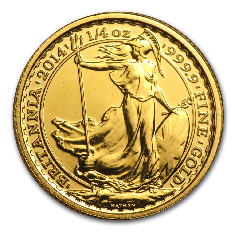 Pre-Owned 2014 UK Britannia 1/4oz Gold Coin