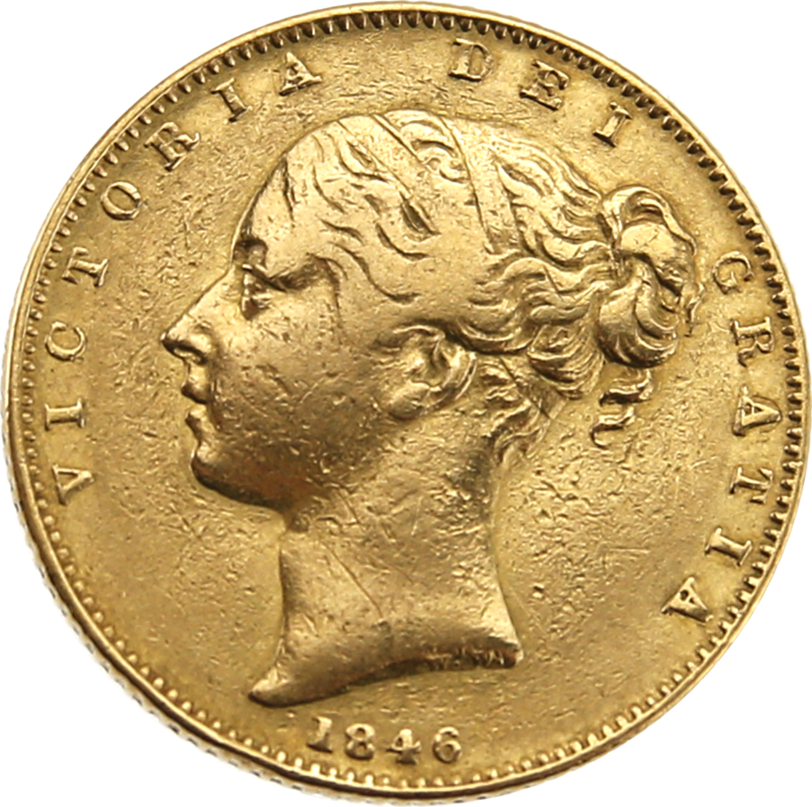 Pre-Owned 1846 London Mint Victorian 'Shield' Full Sovereign Gold Coin