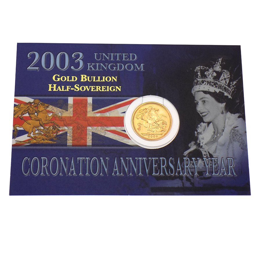 Pre-Owned 2003 UK Carded Half Sovereign Gold Coin