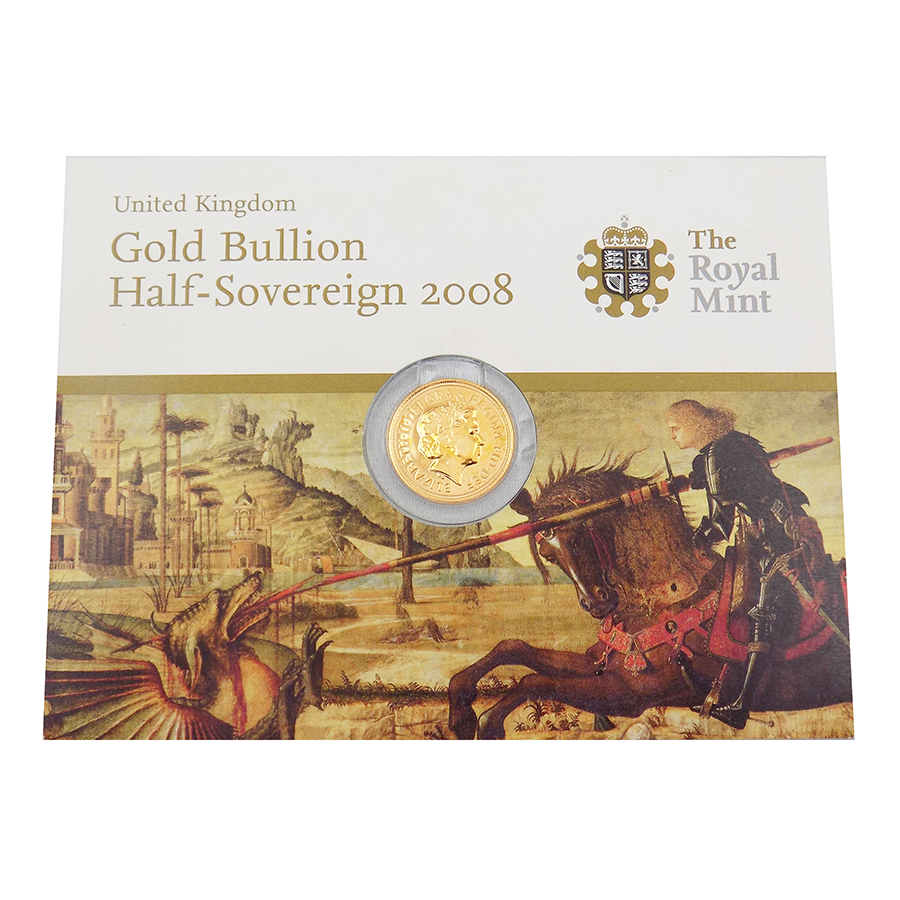 Pre-Owned 2008 UK Carded Half Sovereign Gold Coin