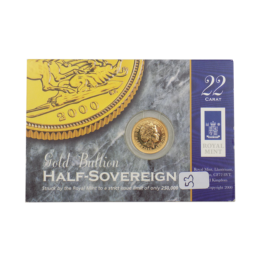 Pre-Owned 2000 UK Carded Half Sovereign Gold Coin