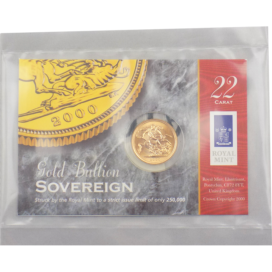 Pre-Owned 2000 Carded UK Full Sovereign Gold Coin