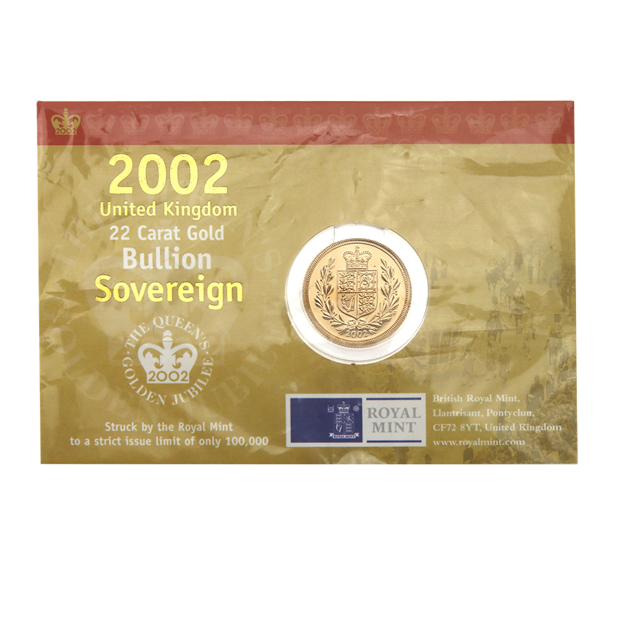 Pre-Owned 2002 UK Carded Full Sovereign Gold Coin