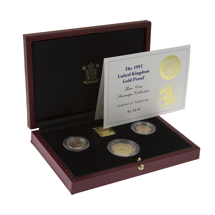 Pre-Owned 1997 UK Proof Gold Sovereign Three Coin Collection