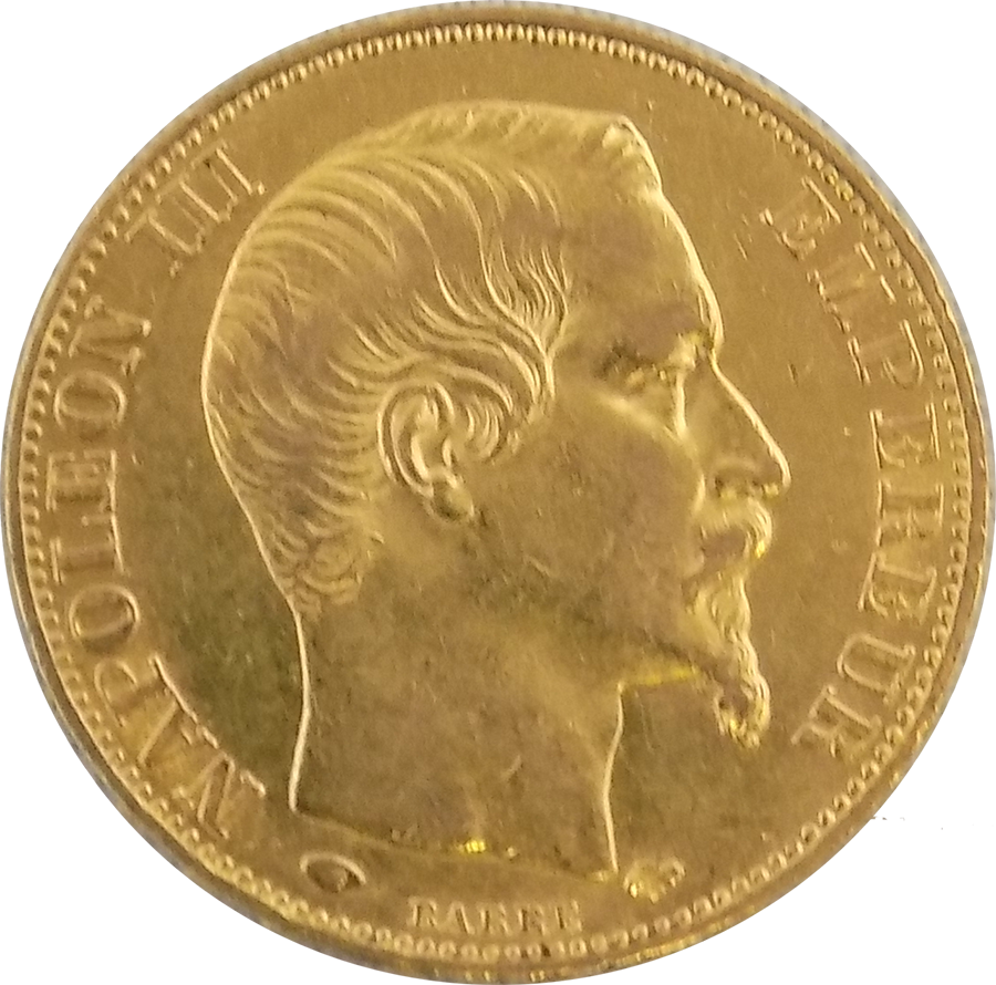 Pre-Owned French  Napoleon III Wreath 20 Franc Gold Coin - Mixed Dates