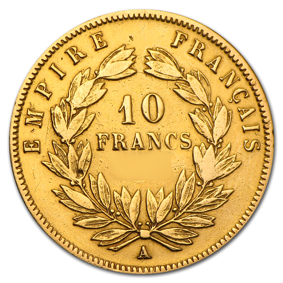 Pre-Owned French Napoleon III Wreath 10 Franc Gold Coin - Mixed Dates