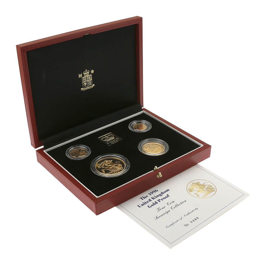Pre-Owned 1996 UK Gold Sovereign Proof 4 Coin Collection (Image 1)
