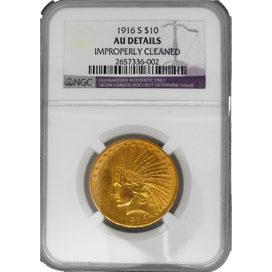 Pre Owned 1916 Usa Indian Head 10 Gold Coin Ngc Graded Au
