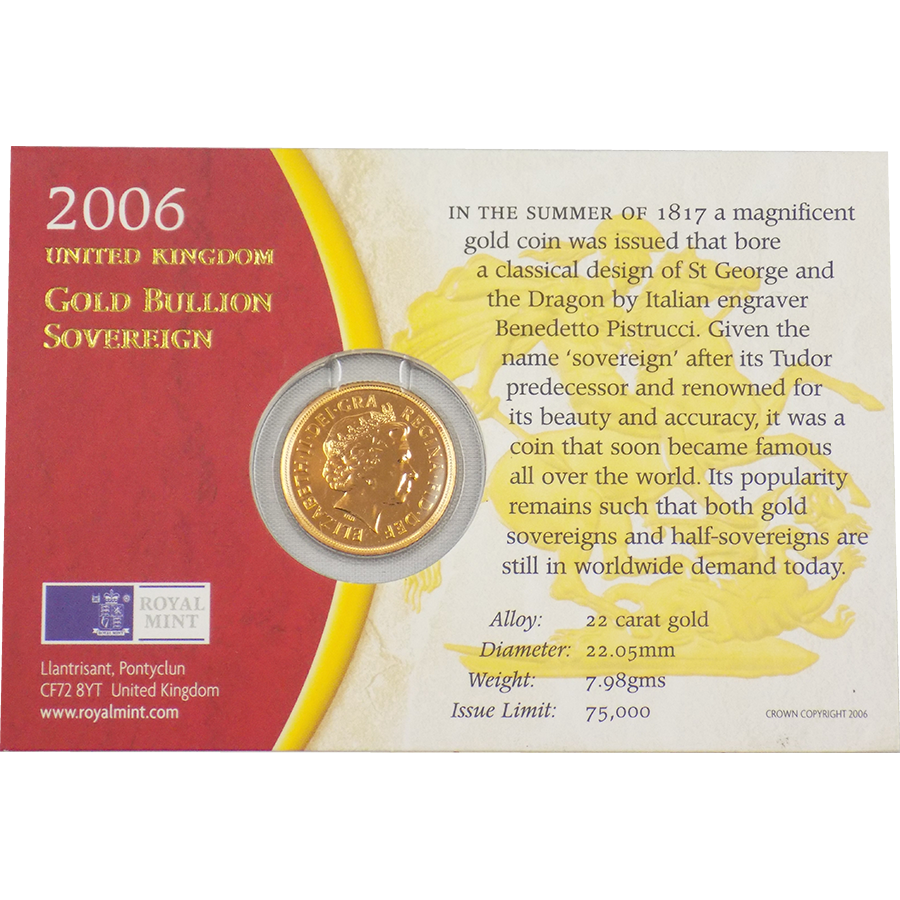 Pre-Owned 2006 UK Carded Full Sovereign Gold Coin (Image 2)