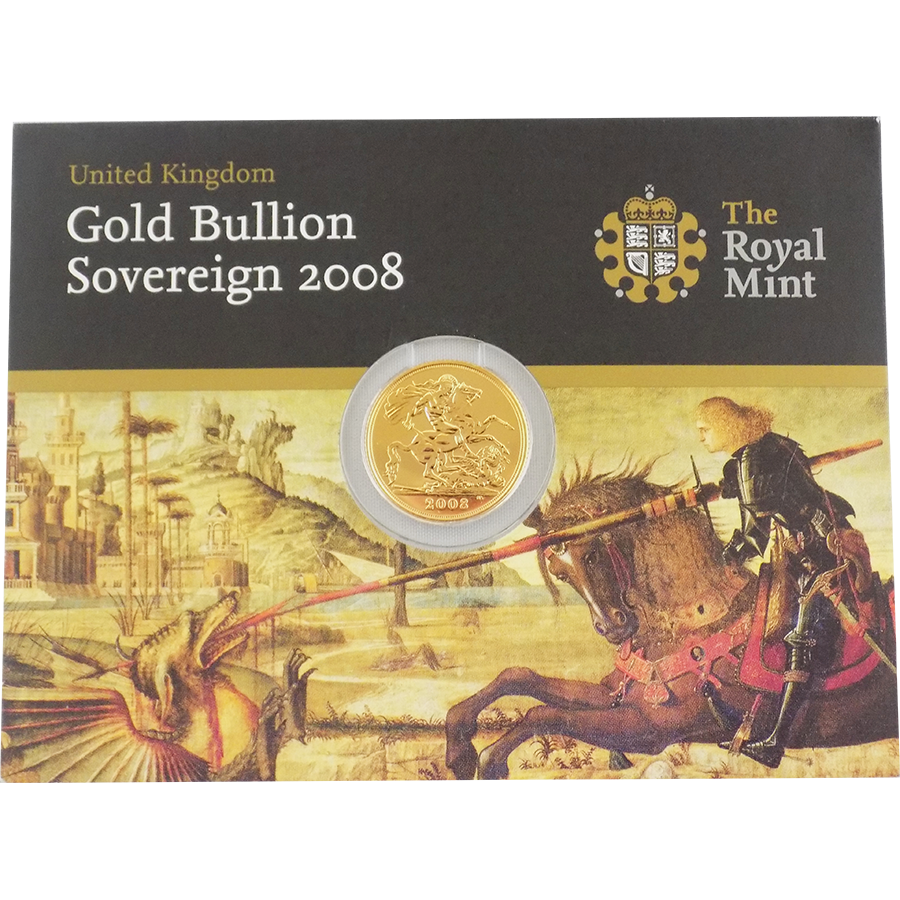 Pre-Owned 2008 UK Carded Full Sovereign Gold Coin (Image 1)