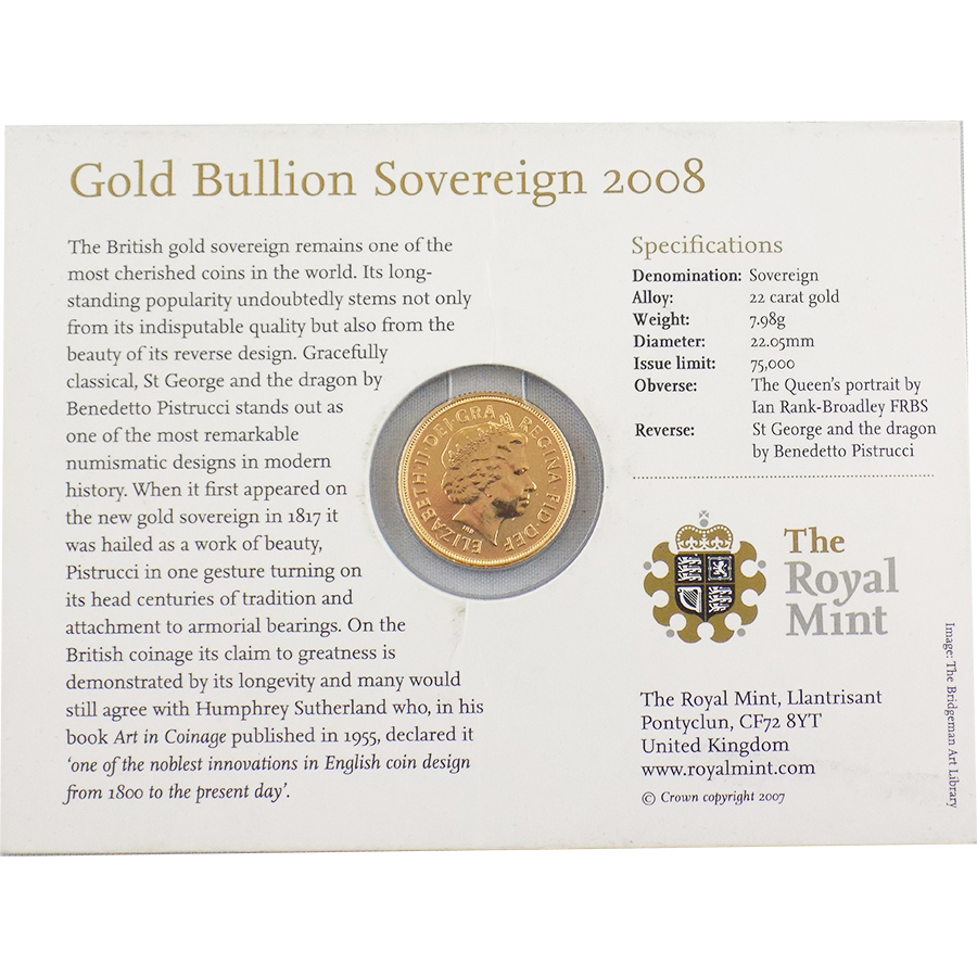 Pre-Owned 2008 UK Carded Full Sovereign Gold Coin (Image 2)
