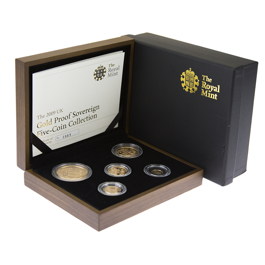 Pre-Owned 2009 UK Sovereign Gold Proof 5 Coin Collection