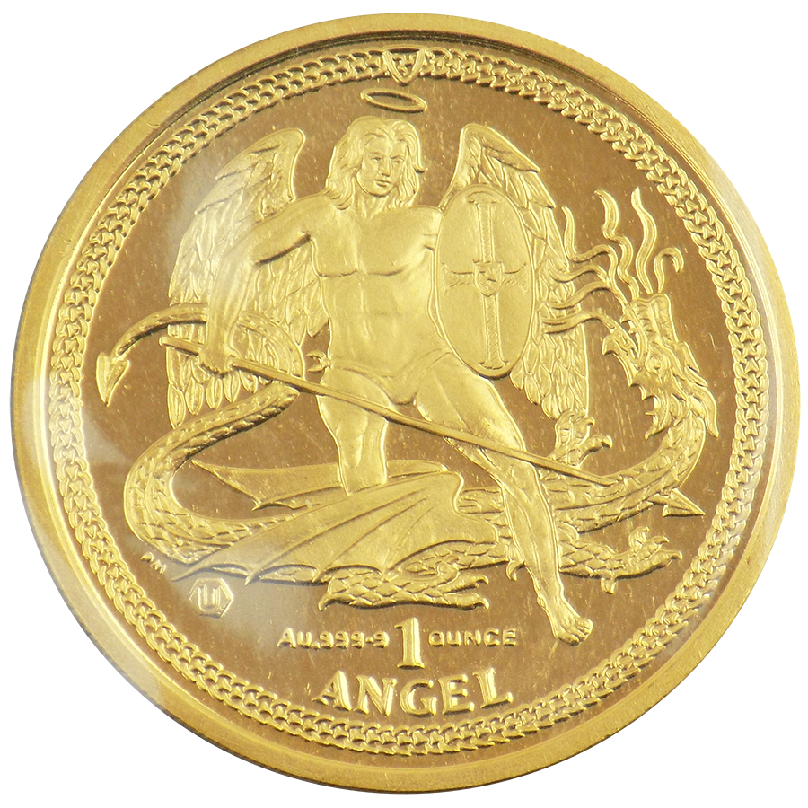 Pre-Owned Isle of Man Angel 1oz Gold Coin - Mixed Dates