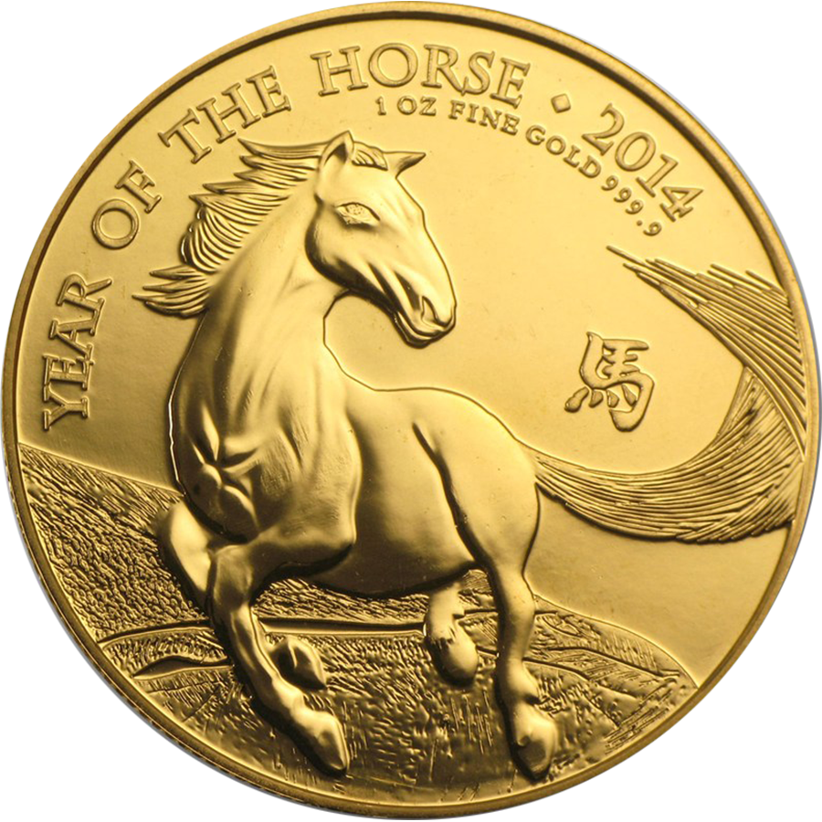 Pre-Owned 2014 UK Lunar Horse 1oz Gold Coin