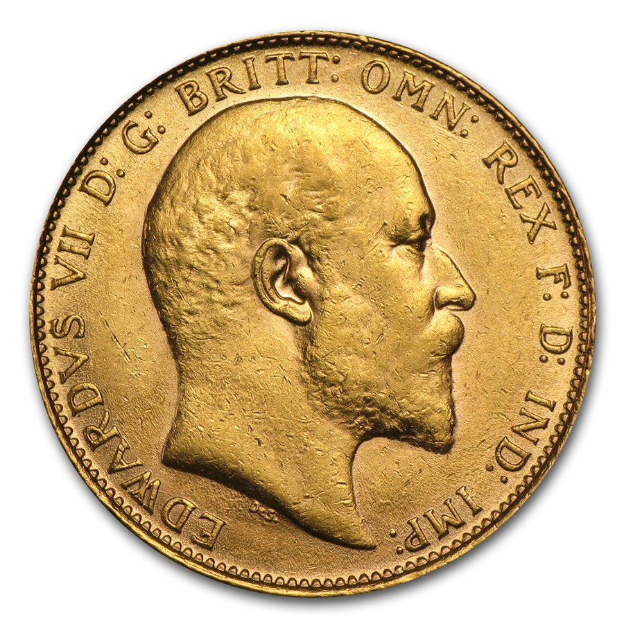 Pre-Owned 1909 UK Edward VII Full Sovereign Gold Coin