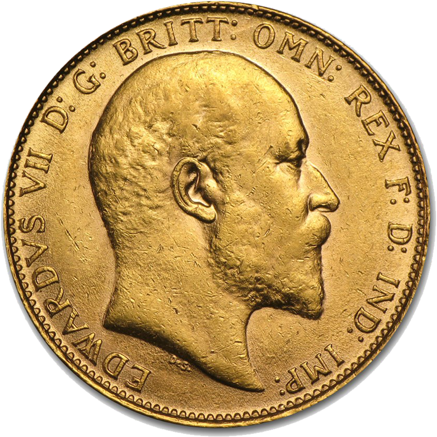 Pre-Owned 1908 London Mint Edward VII Full Sovereign Gold Coin (Image 1)