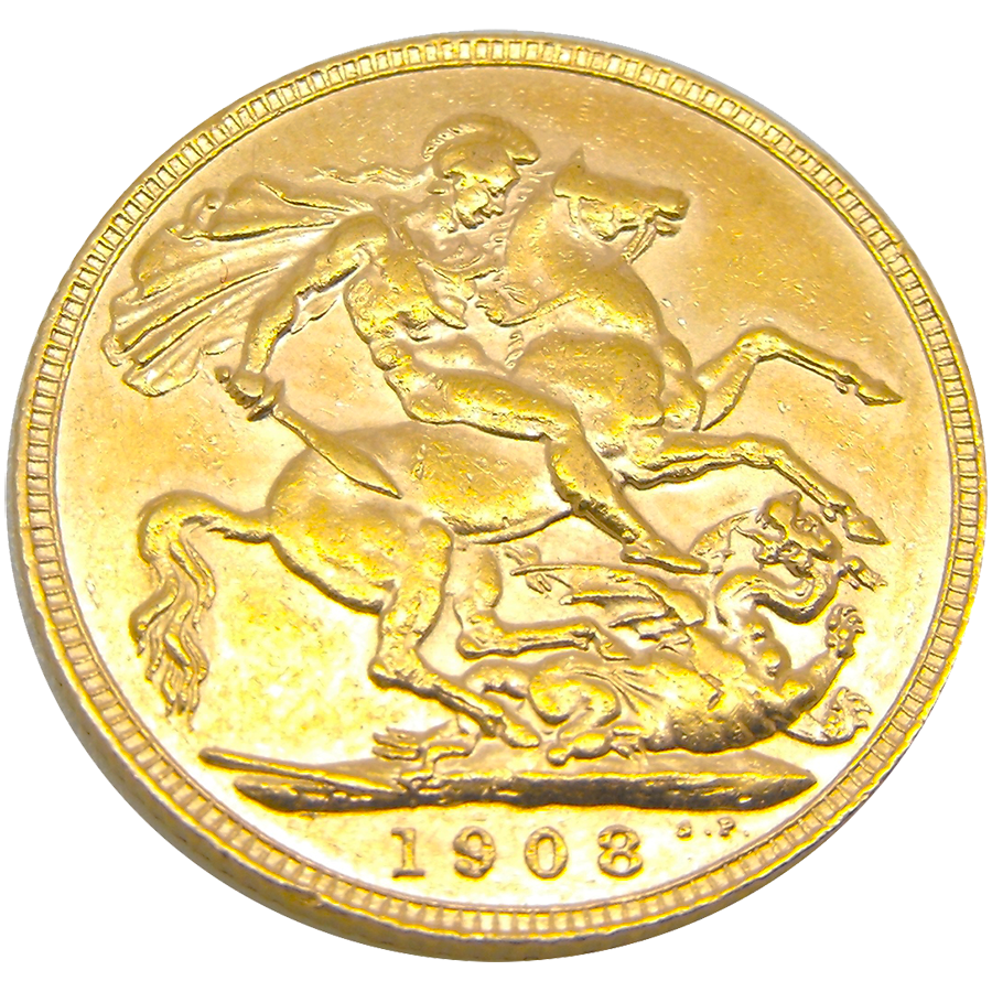 Pre-Owned 1908 London Mint Edward VII Full Sovereign Gold Coin (Image 2)
