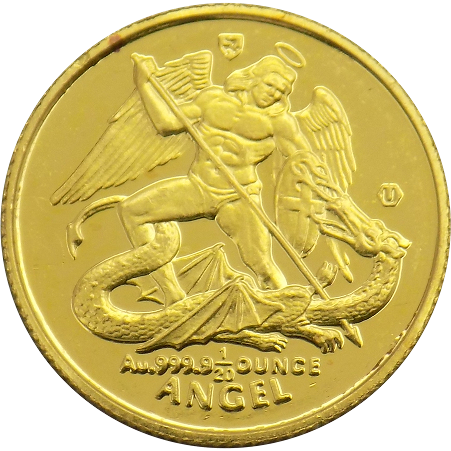 Pre-Owned Isle of Man Angel 1/20oz Gold Coin