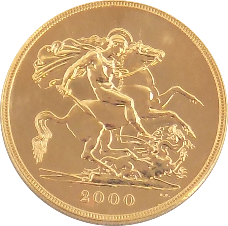 Pre-Owned 2000 UK Quintuple Sovereign Gold Coin