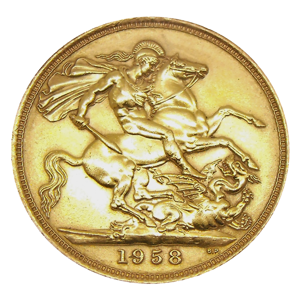 Pre-Owned 1958 UK Elizabeth II Full Sovereign Gold Coin (Image 2)