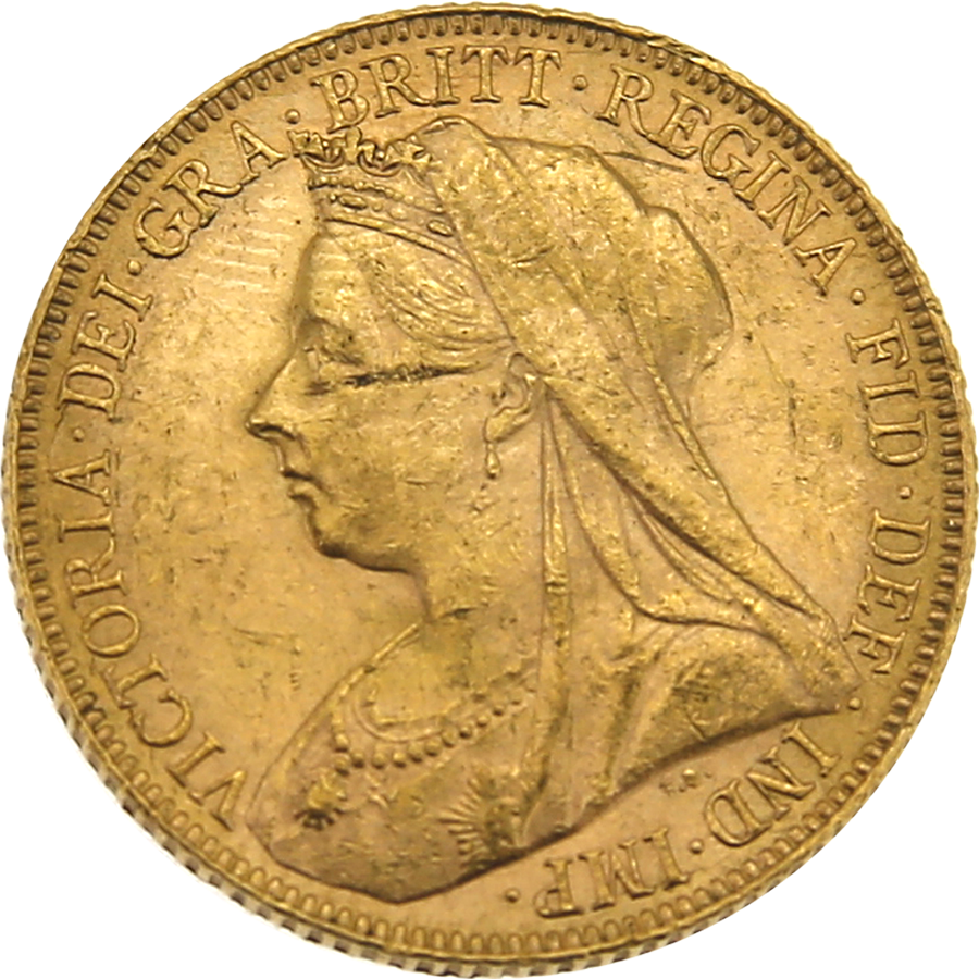 Pre-Owned 1900 London Mint Victoria 'Veiled Head' Full Sovereign Gold Coin