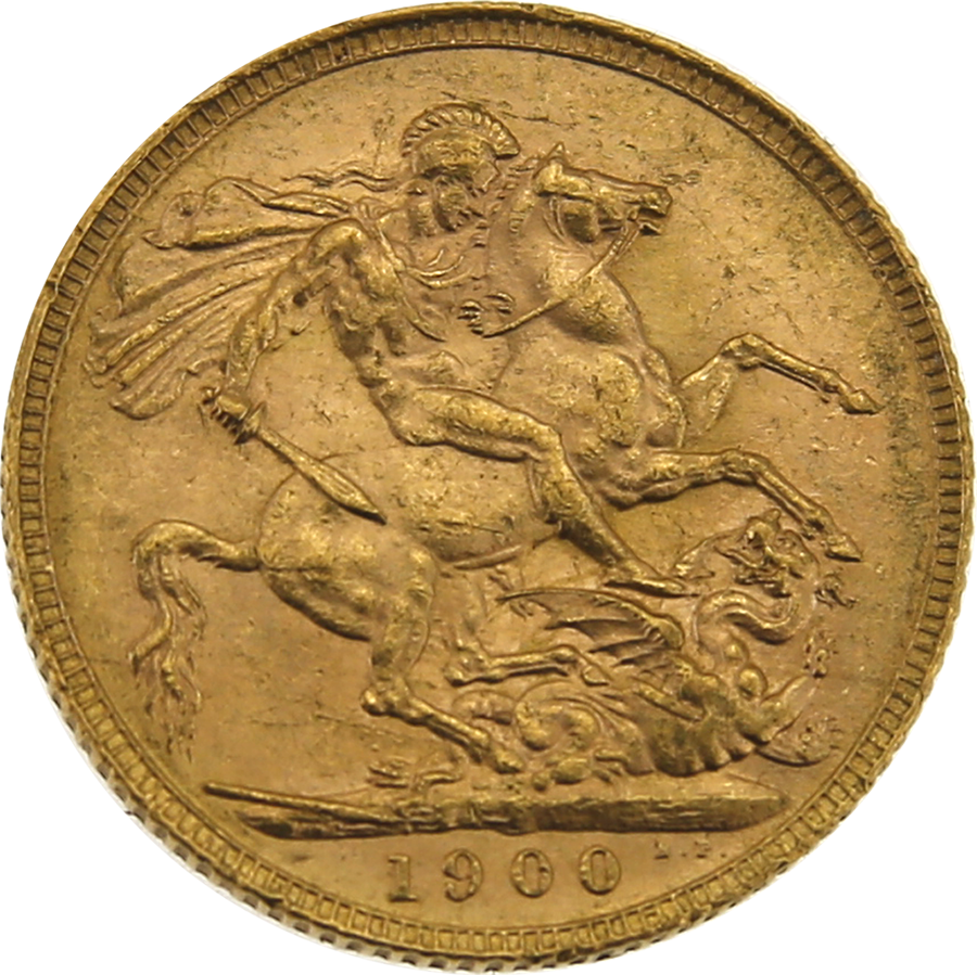 Pre-Owned 1900 London Mint Victoria 'Veiled Head' Full Sovereign Gold Coin (Image 2)