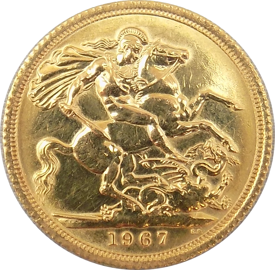Pre-Owned 1967 UK Full Sovereign Gold Coin (Image 2)